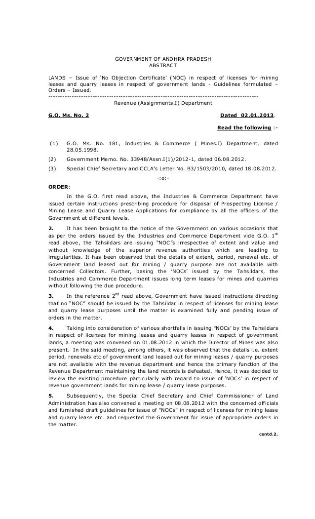 GOVERNMENT OF ANDHRA PRADESH ABSTRACT LANDS U2013 Issue Of U0027No Objection  Certificateu0027 (NOC ...  Noc Certificate Format In Pdf