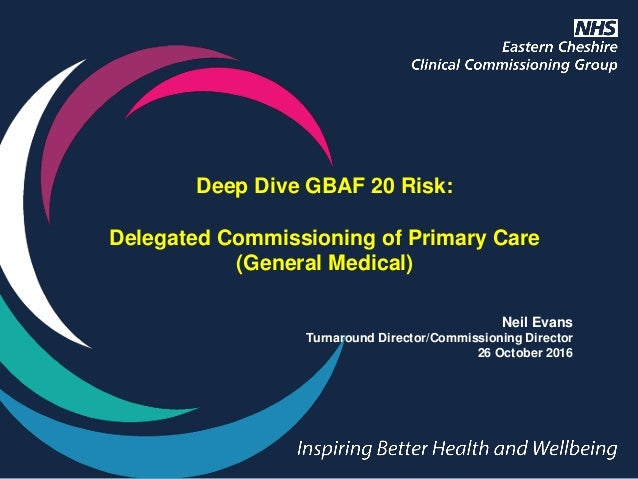 Deep Dive GBAF 20 Risk: Delegated Commissioning of Primary Care (General Medical) Neil Evans Turnaround Director/Commissio...