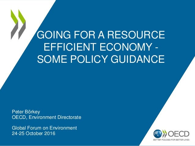 GOING FOR A RESOURCE EFFICIENT ECONOMY - SOME POLICY GUIDANCE Peter Börkey OECD, Environment Directorate Global Forum on E...