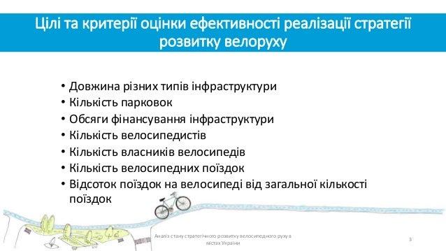 Цілі та критерії оцінки ефективності реалізації стратегії розвитку велоруху • Довжина різних типів інфраструктури • Кількі...