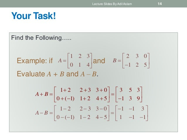 Your Task! Find the Following….. Lecture Slides By Adil Aslam 14 1 2 3 0 1 4        A 2 3 0 1 2 5       BEx...