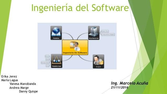 Ingeniería del Software Erika Jerez María Lagua Vanesa Manobanda Andrea Marge Danny Quispe Ing. Marcelo Acuña 21/11/2016