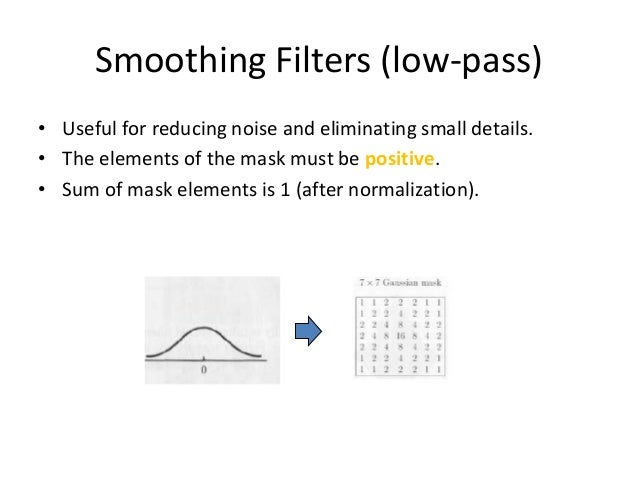 """Smoothing Filters: Median Filtering (non-linear) • Very effective for removing """"salt and pepper"""" noise (i.e., random occur..."""