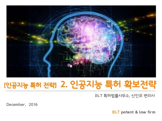 BLT patent & law firm BLT 특허법률사무소, 신인모 변리사 December, 2016 [인공지능 특허 전략] 2. 인공지능 특허 확보전략