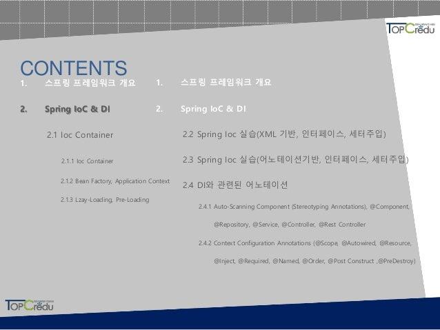 1. 스프링 프레임워크 개요 2. Spring IoC & DI 2.1 Ioc Container 2.1.1 Ioc Container 2.1.2 Bean Factory, Application Context 2.1.3 Lza...
