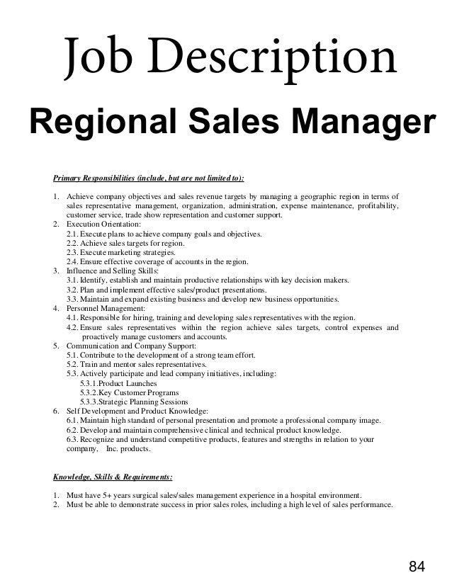 regional sales manager job description