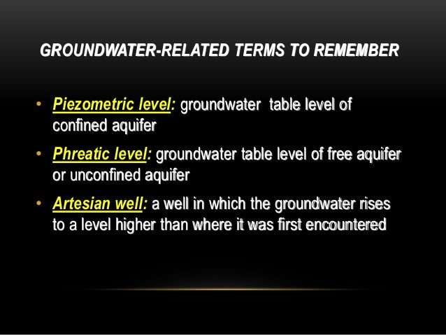 GROUNDWATER-RELATED TERMS TO REMEMBER • Piezometric level: groundwater table level of confined aquifer • Phreatic level: g...