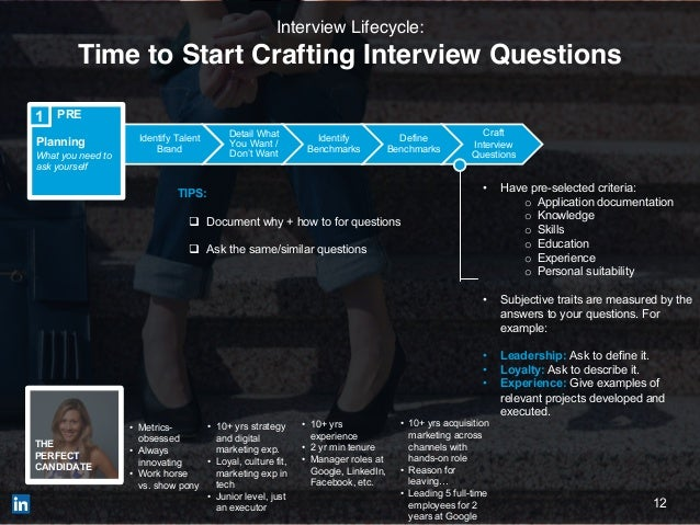 12 Identify Talent Brand Detail What You Want / Don't Want Identify Benchmarks Define Benchmarks Craft Interview Questions...