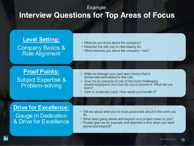 15#hiretowin Example: Interview Questions for Top Areas of Focus • What do you know about the company? • Describe the role...