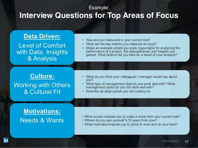 17#hiretowin Example: Interview Questions for Top Areas of Focus • How are you measured in your current role? • What are t...
