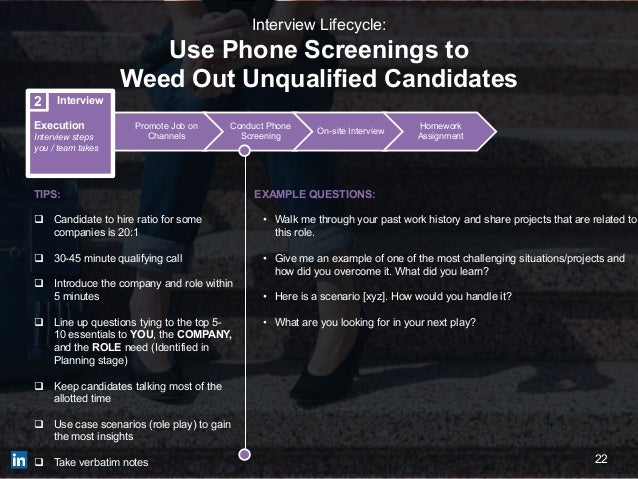 22 Promote Job on Channels Conduct Phone Screening On-site Interview Homework Assignment Interview Execution Interview ste...