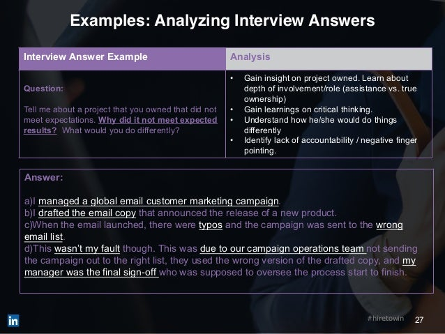 27#hiretowin Examples: Analyzing Interview Answers Interview Answer Example Analysis Question: Tell me about a project tha...
