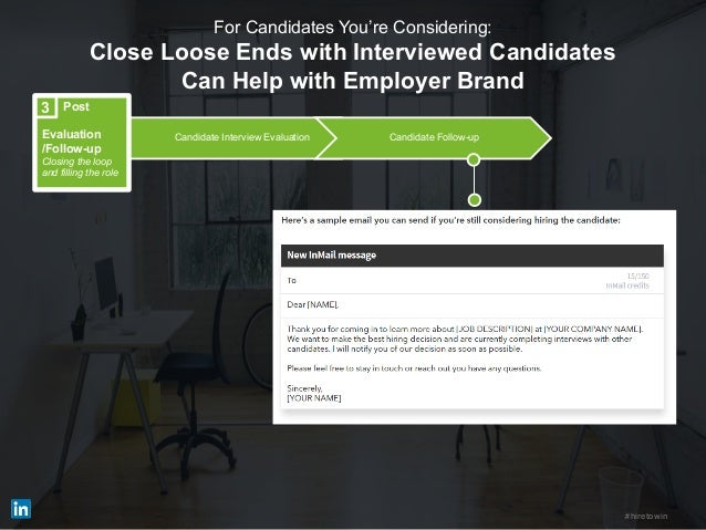 #hiretowin Candidate Interview Evaluation Candidate Follow-up Post Evaluation /Follow-up Closing the loop and filling the ...