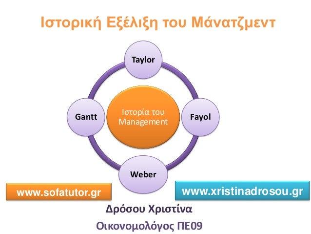 Ιστορική Εξέλιξη του Μάνατζμεντ Δρόσου Χριστίνα Οικονομολόγος ΠΕ09 Ιστορία του Management Taylor Fayol Weber Gantt www.sof...
