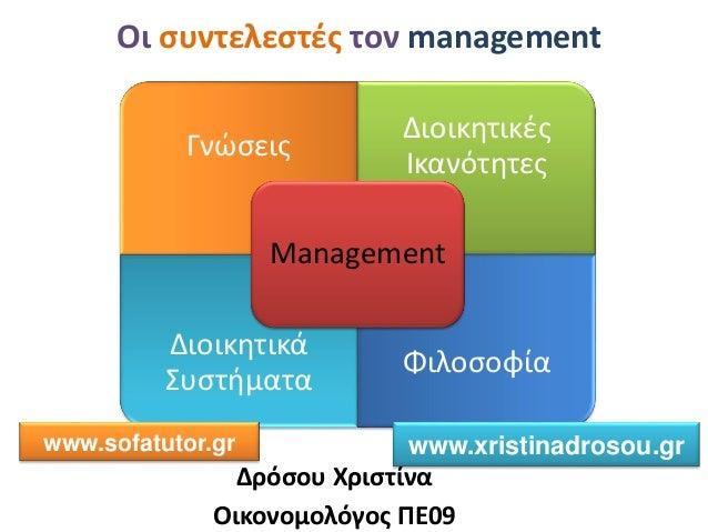 Οι συντελεστές τον management Δρόσου Χριστίνα Οικονομολόγος ΠΕ09 Γνώσεις Διοικητικές Ικανότητες Διοικητικά Συστήματα Φιλοσ...