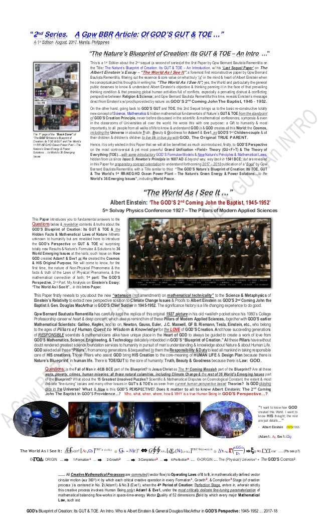 2 a gpw bbrs 2nd series of article the gods gut toe and albert gods blueprint of creation its gut toe an intro malvernweather Images