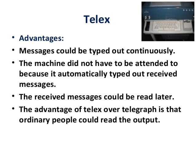 disadvantages of telex As telex see generally g brock, the united states computer industry  this  argument is that disadvantages which the firm can overcome by toehold entry are.