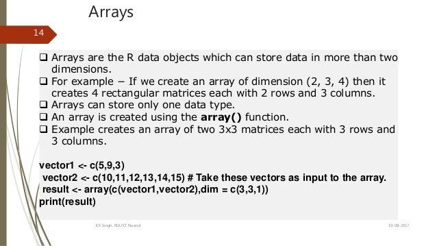 2. R-basics, Vectors, Arrays, Matrices, Factors