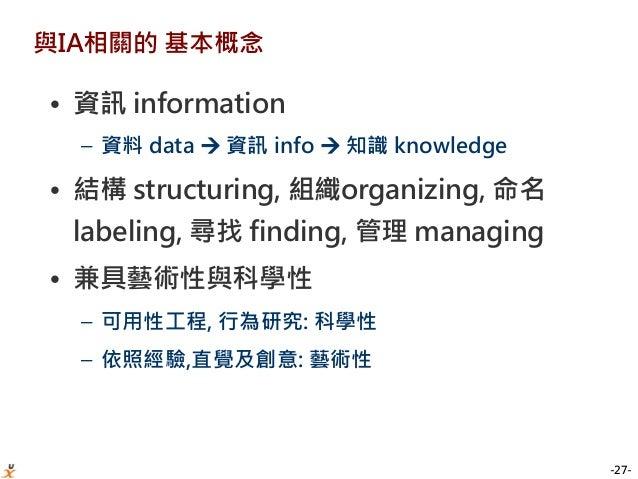 -27- 與IA相關的 基本概念 • 資訊 information – 資料 data  資訊 info  知識 knowledge • 結構 structuring, 組織organizing, 命名 labeling, 尋找 findi...