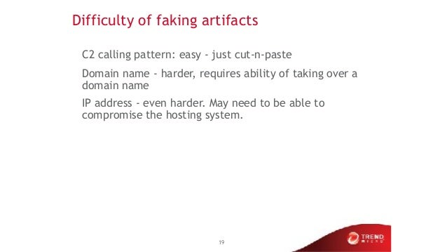 Difficulty of faking artifacts C2 calling pattern: easy - just cut-n-paste Domain name - harder, requires ability of takin...