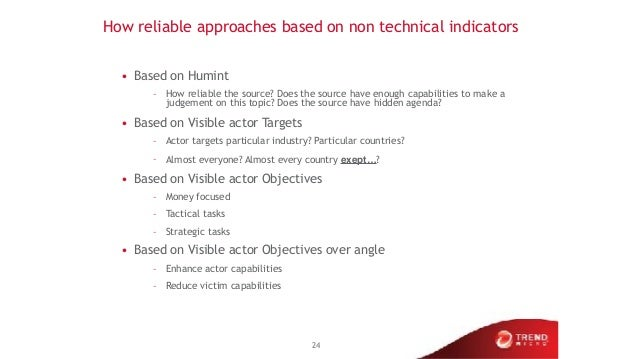 How reliable approaches based on non technical indicators • Based on Humint – How reliable the source? Does the source hav...