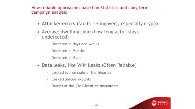 How reliable approaches based on Statistics and Long term campaign analysis • Attacker errors (faults - Hangover), especia...