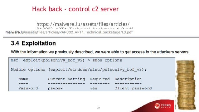 Hack back - control c2 server https://malware.lu/assets/files/articles/ RAP002_APT1_Technical_backstage.1.0.pdf 29