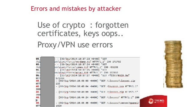 Errors and mistakes by attacker Use of crypto : forgotten certificates, keys oops.. Proxy/VPN use errors 31