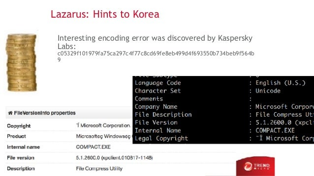 Lazarus: Hints to Korea Interesting encoding error was discovered by Kaspersky Labs: c05329f101979fa75ca297c4f77c8cd69fe8e...