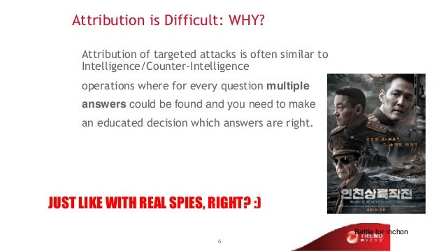 Attribution is Difficult: WHY? Attribution of targeted attacks is often similar to Intelligence/Counter-Intelligence opera...