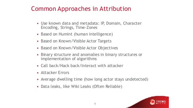 Common Approaches in Attribution • Use known data and metadata: IP, Domain, Character Encoding, Strings, Time-Zones • Base...
