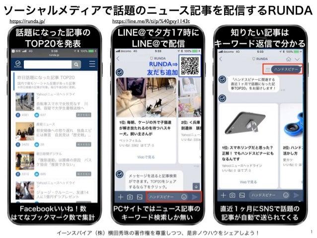 イーンスパイア(株)横田秀珠の著作権を尊重しつつ、是非ノウハウをシェアしよう! 1 ソーシャルメディアで話題のニュース記事を配信するRUNDA https://runda.jp/ 話題になった記事の TOP20を発表 Facebookいいね!数...