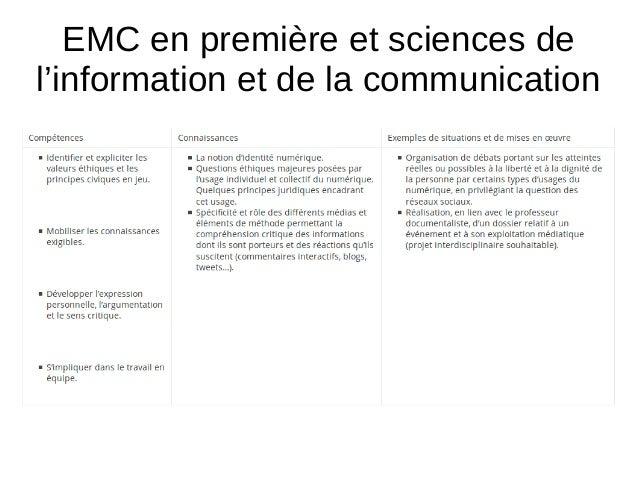 EMC en première et sciences de l'information et de la communication