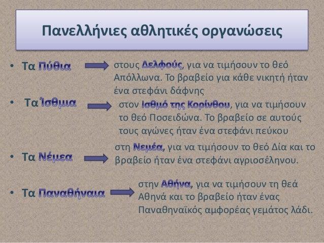 Ολυμπιακοί Αγώνες Οι πιο σημαντικοί πανελλήνιοι αγώνες Κατά τη διάρκεια των Ολυμπιακών αγώνων οι Έλληνες έκαναν μεταξύ του...