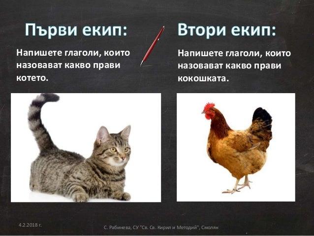 Напишете глаголи, които назовават какво прави котето. Напишете глаголи, които назовават какво прави кокошката. 4.2.2018 г....