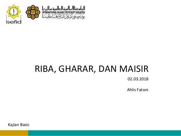 Riba Gharar And Maysir