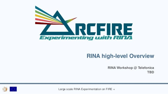 Large scale RINA Experimentation on FIRE + RINA high-level Overview RINA Workshop @ Telefonica TBD