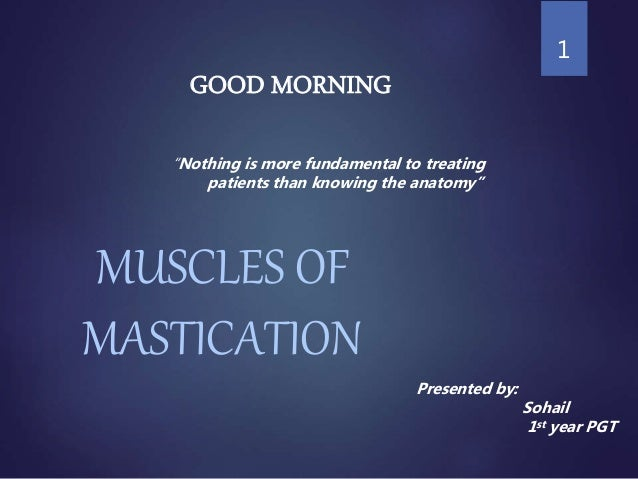 "MUSCLES OF MASTICATION 1 Presented by: Sohail 1st year PGT ""Nothing is more fundamental to treating patients than knowing ..."
