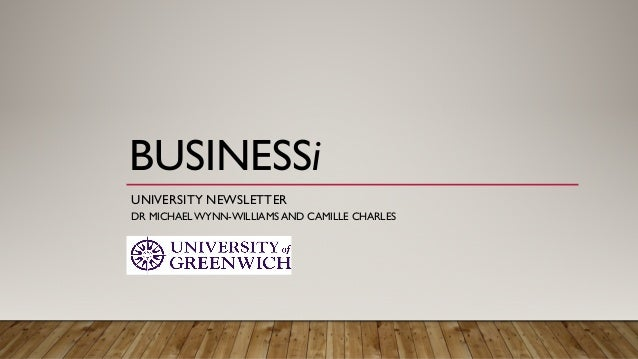 UNIVERSITY NEWSLETTER DR MICHAEL WYNN-WILLIAMS AND CAMILLE CHARLES BUSINESSi