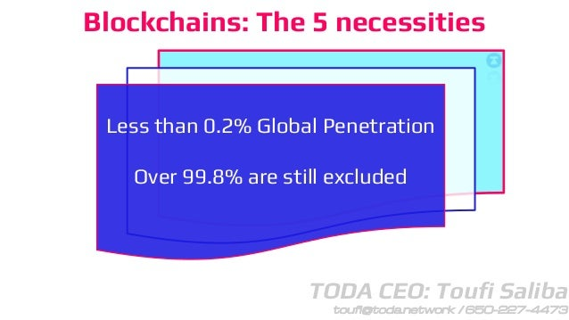 TODA CEO: Toufi Saliba toufi@toda.network / 650-227-4473 Blockchains: The 5 necessities Less than 0.2% Global Penetration ...