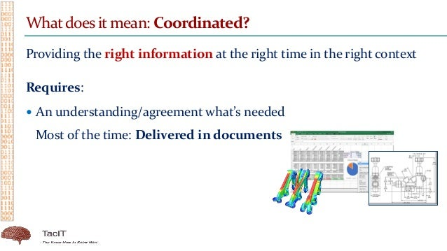 Whatdoes it mean: Coordinated? Providing the right information at the right time in the right context Requires:  An under...