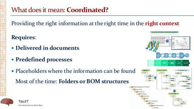 Whatdoes it mean: Coordinated? Providing the right information at the right time in the right context Requires:  Delivere...
