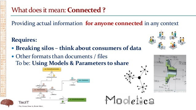 Whatdoes it mean: Connected ? Providing actual information for anyone connected in any context Requires:  Breaking silos ...