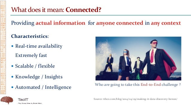 Whatdoes it mean: Connected? Providing actual information for anyone connected in any context Characteristics:  Real-time...
