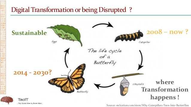 Digital Transformationor being Disrupted ? 2008 – now ? 2014 - 2030? where Transformation happens ! Sustainable Source: ow...