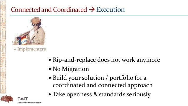 Connected and Coordinated  Execution  Rip-and-replace does not work anymore  No Migration  Build your solution / portf...