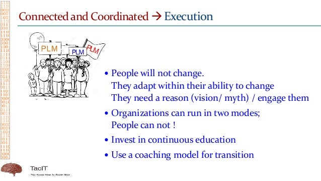 Connected and Coordinated  Execution  People will not change. They adapt within their ability to change They need a reas...