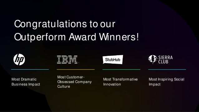 Congratulations to our Outperform Award Winners! Most Dramatic Business Impact Most Customer- Obsessed Company Culture Mos...