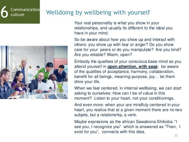 12 Communication culture6 Welldoing by wellbeing with yourself Your real personality is what you show in your relationship...