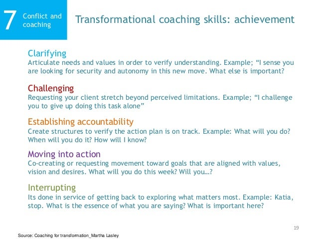 19 Conflict and coaching7 Transformational coaching skills: achievement Challenging Requesting your client stretch beyond ...